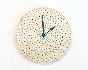 Large Wood Clock, Wall Clock, Nuvo Enamel Polka Dot Home Decor, Home and Living, Decor and Housewares
