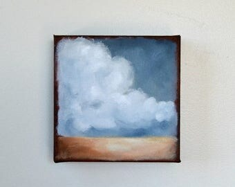 ON SALE Oil painting, landscape, stormy sky, thunderstorm clouds, neutral home decor, wall art - Stormscape series sixtyone