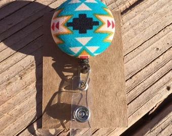 Native Design Fabric Button Retractable Badge Reel - Native Badge Holder - Handmade Navajo Design Fabric Button ID Holder