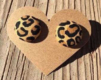 Medium Cheetah Design Fabric Button Earrings - Fabric Button Earrings - Cheetah Print Fabric Earrings - Luxie Creations Earrings