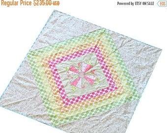 FLASH QUILT SALE Modern Rainbow Quilt - Cross Quilt - Heather Ross Fabric - Baby Crib Quilt - Play Mat