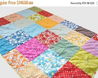 FLASH QUILT SALE Flower Quilt - Lap Quilt - Toddler Quilt - Crib Quilt - Rainbow Blanket - Robert Kaufmann Fabric