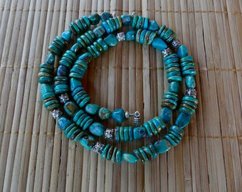 28 Inch Natural Arizona Mined Turquoise Necklace with Two Shapes of Beads