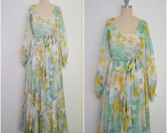 Vintage 1970s Chiffon Floral Dress