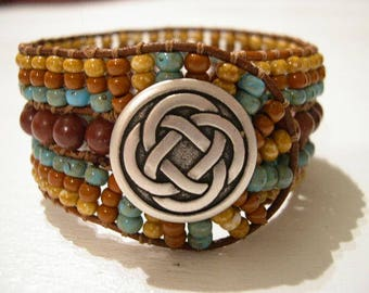 Beaded Cuff Bracelet, Beaded Leather Cuff - 924