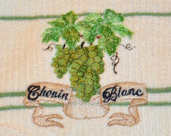embroidered kitchen towel, with Chenin Blanc wine grapes