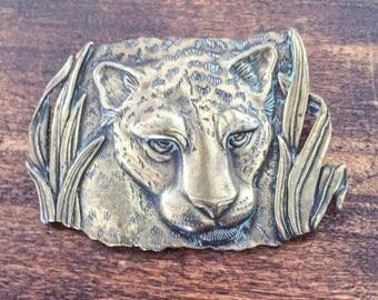 Large Leopard Brooch or Pin, Jungle, Gold Tone, JJ Designer, 1960s Vintage Jewelry SUMMER SALE