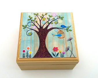 Trinket box, Children's wooden trinket box, Small jewellery box with whimsical tree and birdcage design print.