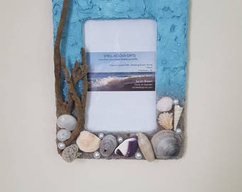 "Ready to ship ""Carolina Skies"" Beach 4x6 Frame-hand collected Carolina sand,dead mans fingers, shells! Beach wedding, gift for Mermaid!"