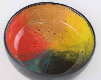 Rainbow ceramic bowl, handmade stoneware pottery, pet bowl (black matte B)