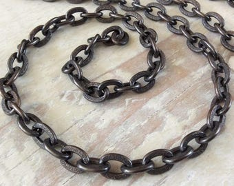 6ft Large Oxidized Solid Copper Chain 7mm x 10mm Chunky Textured Flat Link Cable, Patterned Antiqued Heavy