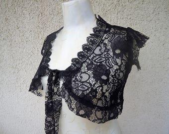 CUSTOM MADE Romantic Black Flower Lace Bolero-Top-Tribal Fusion Bellydance Top-Steampunk-Mini Jacket