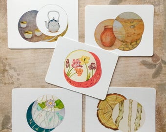 Planner Accessory Notebook Paper Craft; 5 Feng Shui Element Cards, Scrapbook Art Embellishment, Highly detailed Giclée Art Prints