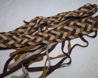 Vintage Suede Leather Weaved Self Tie Belt