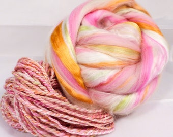 Rainbow Sherbet  -( 2 oz.)  Custom blended top - Pearl Fiber/  Merino / Mulberry Silk/ Baby Alpaca ( 25/35/25/15 )