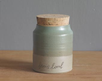 SALE ready made urn. handmade sand colored stoneware urn with cork stopper. satin turquoise glaze. forever loved calligraphy stamp