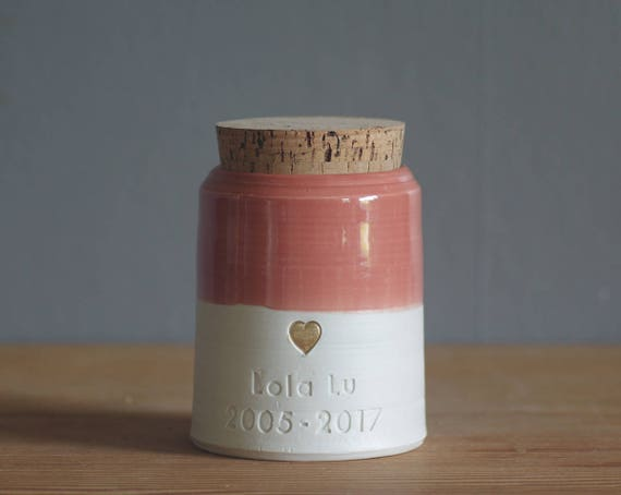custom pet urn. small collar shape. human ashes urn /pet urn. coral pink/ porc shown with gold heart. modern pottery urn, custom name