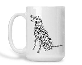 Labrador Dog Mug Custom Name Coffee Mug Personalized Dog Lover Gift Idea Dog Mom Dad Mug Black Lab Silhouette Pet Memorial Pet Loss Gifts