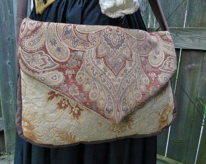 Renaissance Tapestry Bag, Medieval Purse, Cross Body Messenger Large