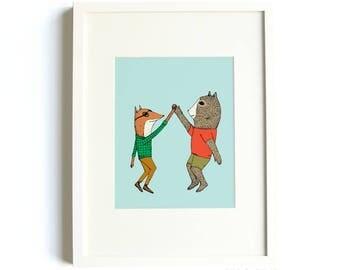 High Five Animals Print - High 5 Print, Animal Nursery Print, Bear Print, Fox Print, Nursery Decor, Kids Prints, 8 x10 Print, Animal Art