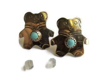 Vintage Navajo Sterling Turquoise Bear Earrings