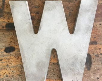 Vintage large industrial marquee sign letter - Letter W - Vintage Aluminum Letter - Salvaged metal sign letter -