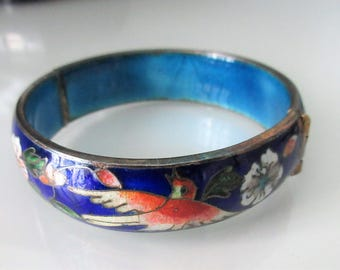 Vintage ~ CLOISONNE ~ Hinged Bangle Bracelet~ BIRDS and FLOWERS ~ Shades of Blue and Gilt
