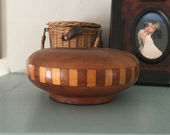 Vintage Heavy Inlaid Wood Bowl,Decorative Bowl