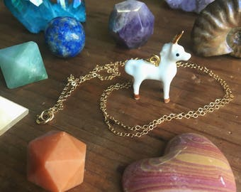 Sale UNICORN LOVE a porcelain gold horn uni charm 14 kt necklace