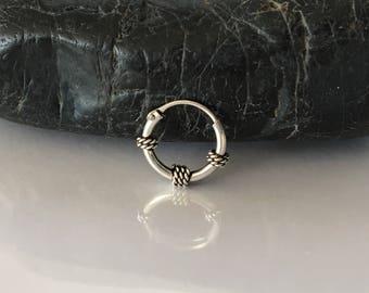 Hoop Piercing Sterling silver bali Hoop Cartilage Earring Helix Earring Tragus Hoop Piercing