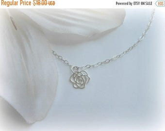 Christmas in July SALE Flower Girl Gift, Tiny Rose Necklace, Sterling Silver, Flower Necklace, Gifts for Flower Girls, Wedding Jewelry, Brid