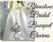 Bridal Bouquet Photo Charm in Rhinestones on Jewel Chain With Two Charms, Wedding Bouquet Memento, Wedding Bling, Shiny Gold or Silver Tone