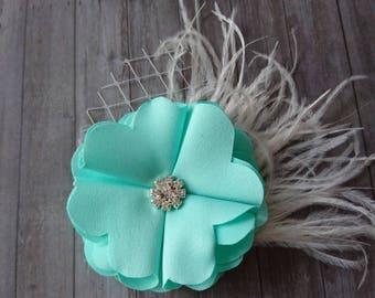 Mint, Green, Hair Fascinator, Wedding Hair Piece, Bridal Headpiece, Silk Flower, Bridesmaid Hair Accessory, Feather Hair Flower, Flower hair