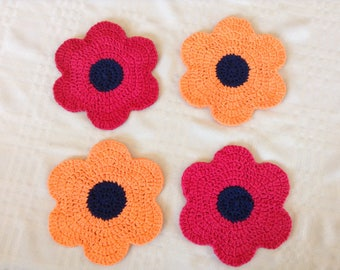 Red and Golden Poppy Crochet Dishcloths - Set of 4 (READY TO SHIP!)
