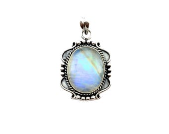 Finegemstone Rainbow Moonstone Sterling Silver Handmade Pendant design inspired by Twilight movie Bella Pendant neck jewelry Christmas gift