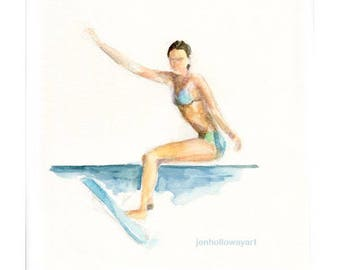 Watercolor Surfing Girl, Surfing Girl Painting, Surfing Girl Print, Surfing Girl Art, Surf Art, Surfing Painting