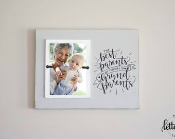 Best Parents Get Promoted to Grandparents Frame, Grandma Grandpa Picture Frame, Custom Photo Frame Gift, Pregnancy Announcement Present