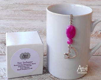 Tea Infuser, Two Hearts, Fuschia Crazy Lace Agate Stone, Love, Heart, Lead Free, Anniversary, Girlfriend Gift, Gift for Her, Tea Lover Gift