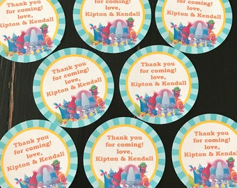 TROLLS INSPIRED Happy Birthday or Baby Shower Party Favor Tags/Sticker - 1 dozen {12} - Party Packs Available