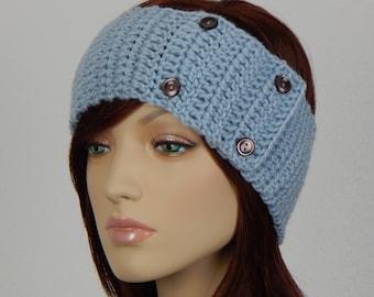 Crochet PATTERN PDF, The Timeless Ear Warmer Headband, Winter Headband with Buttons, Womens Crochet Pattern, Adjustable, MarlowsGiftCottage