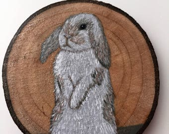 White Lop-eared Bunny Recycled Wood Magnet Hand Painted White Lopeared Rabbit Fridge Magnet Kitchen Decor