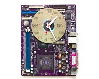 Geeky Wall clock - Computer purple motherboard - c9060