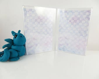 Polymer clay baby blue dragon with a double photo frame