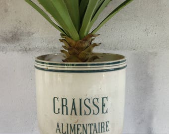 "French Antique Large Graisse Pot...height 8.1/2"" x diameter 8""...Utensil Jar....Storage Jar....Nordic Living....Shabby Chic"