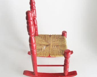 Vintage Doll Rocking Chair Red Painted Wood Jute Woven Seat