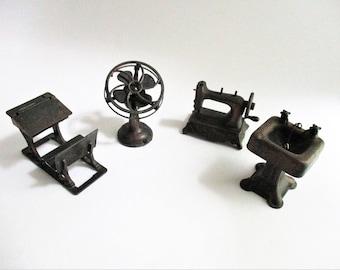 Vintage Miniatures Metal Durham Industries School Desk Fan Sewing Machine Pedestal Sink YOUR CHOICE