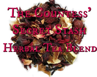 The Countess' Secret Stash Herbal Tea Blend - loose leaf herbal tea, hibiscus tea, american horror story hotel inspired, horror fandom tea