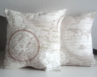 Cushion cover, cottage chic, pillow cover, pillow case, 16 x 16, beige and white, pillow cover, maps Cushion Cover,grafic pillow cover
