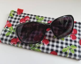 Padded Sunglass Case with Snap- Cherries and gingham