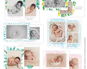 5x7 Birth Announcements Bundle - PSD templates - E1490